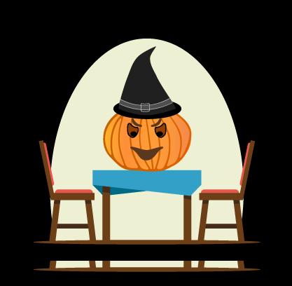 Distanční výuka číšníků a kuchařů na téma Halloween